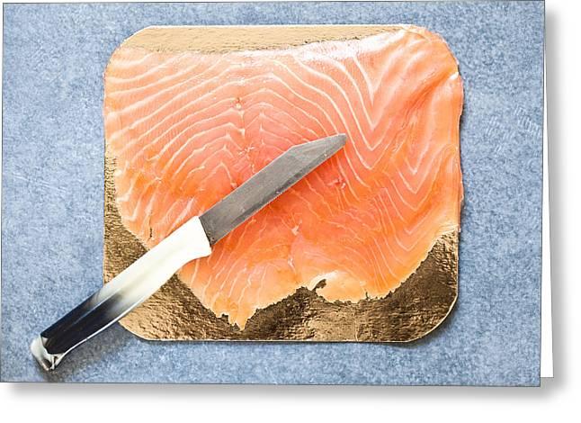 Salmon Photographs Greeting Cards - Smoked salmon Greeting Card by Tom Gowanlock