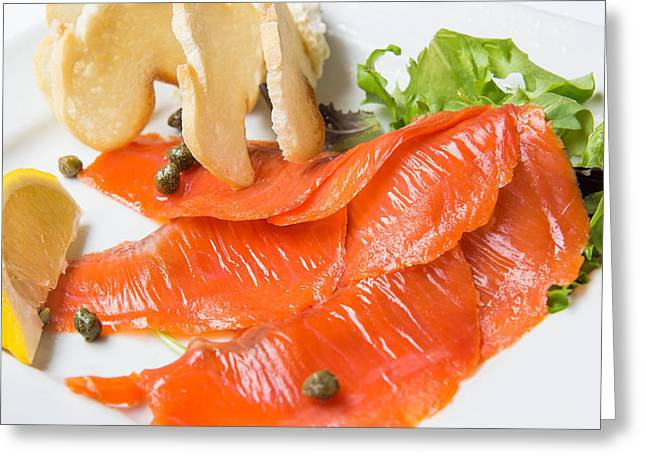 Lox Greeting Cards - Smoked Salmon with Capers Macro Greeting Card by JPLDesigns