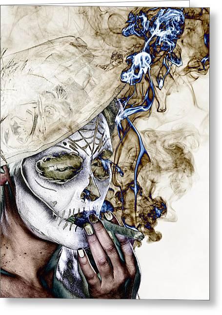 Femal Portrait Greeting Cards - Smoker 1 Greeting Card by Christian Heeb
