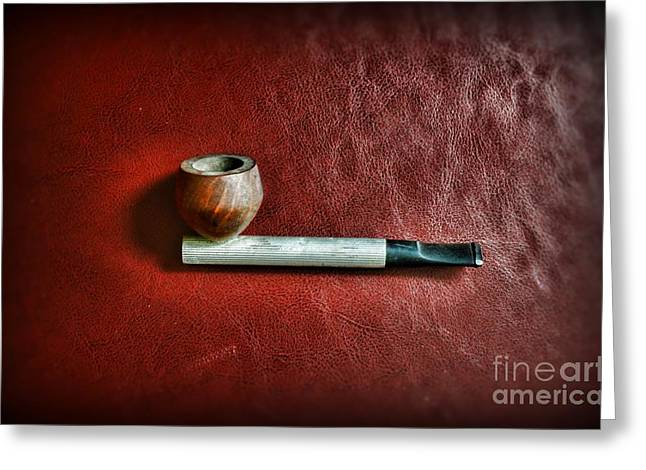 Smoker Greeting Cards - Smoker - Pipe 3 - Aluminum Stem Greeting Card by Paul Ward