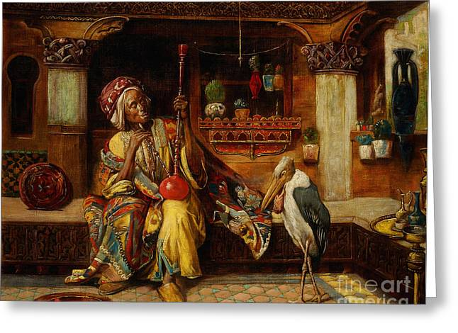 Smoker Greeting Cards - Smoker With Hookah And Marabou Greeting Card by Celestial Images