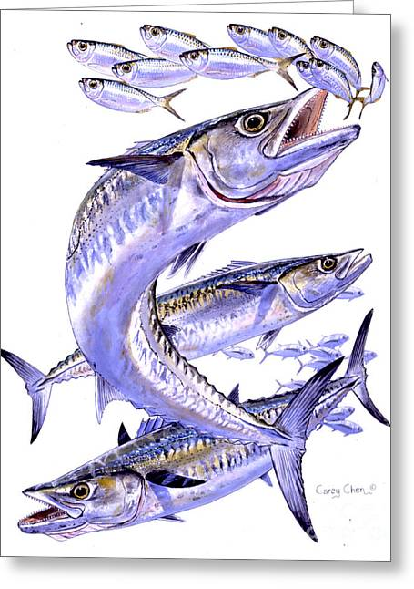 Mackerel Greeting Cards - Smokers Greeting Card by Carey Chen