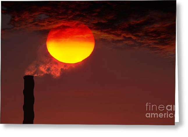 Smokestack Greeting Cards - Smokestack And Sunset Greeting Card by Mike Agliolo