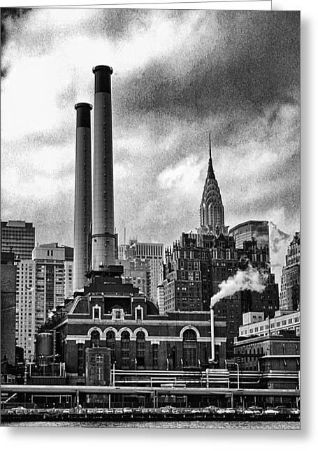 Smokestack Greeting Cards - Smokestacks and Chrysler Greeting Card by Ron Regalado