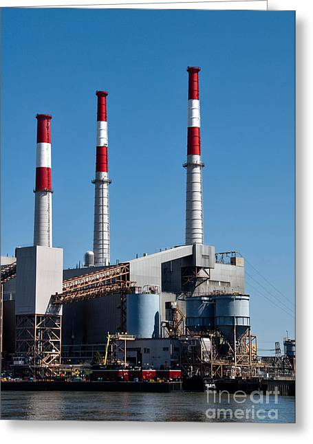 Smokestack Greeting Cards - Smokestacks near Randall Island Greeting Card by Amy Cicconi