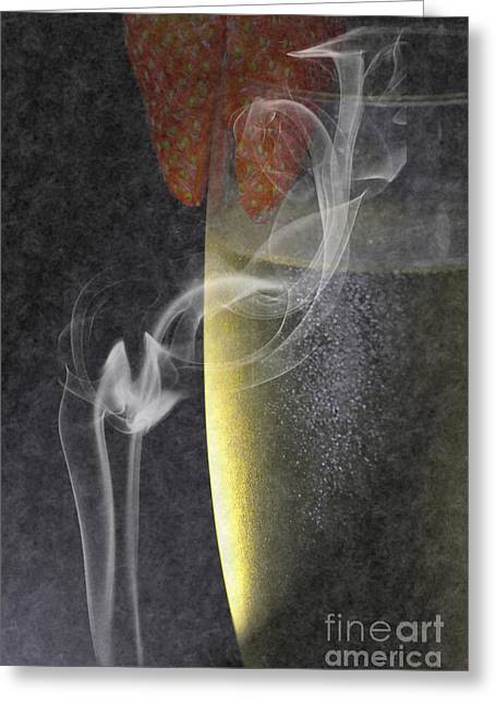 Wine-glass Digital Art Greeting Cards - Smokey  Greeting Card by Brian Roscorla