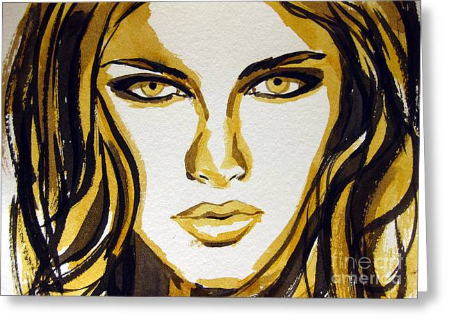 Gift Ideas For Him Greeting Cards - Smokey Eyes woman portrait Greeting Card by Patricia Awapara