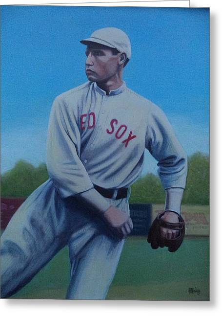 Red Sox Paintings Greeting Cards - Smokey Joe Wood Greeting Card by Mark Haley