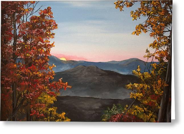 Smokey Mountains Paintings Greeting Cards - Smokey Mountains Sunrise Greeting Card by Julia Robinson