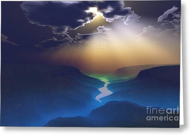 Desert Lake Digital Art Greeting Cards - Smokey Valley Greeting Card by Corey Ford