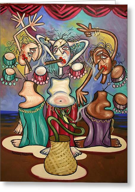 Smoking Greeting Cards - Smoking Belly Dancers Greeting Card by Anthony Falbo