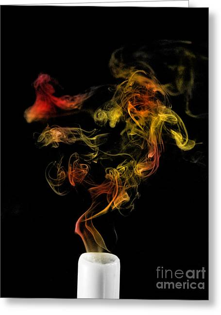 Turbulence Greeting Cards - Smoking Candle Greeting Card by Scott Camazine