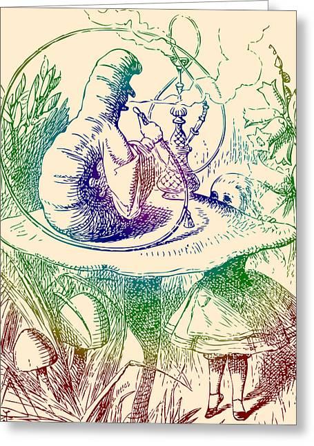 Smoking Book Greeting Cards - Smoking Caterpillar Alice in Wonderland Greeting Card by