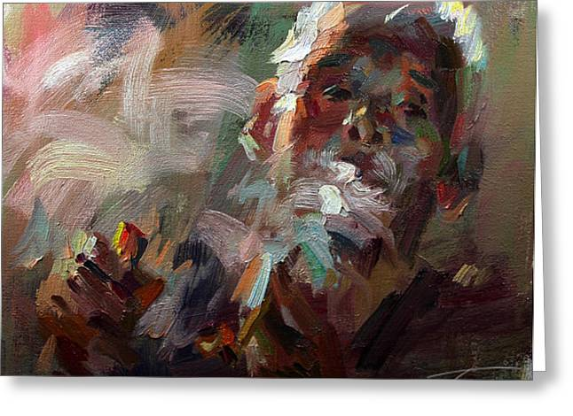 Tony Sculptures Greeting Cards - Smoking Elderly Greeting Card by Tony Song