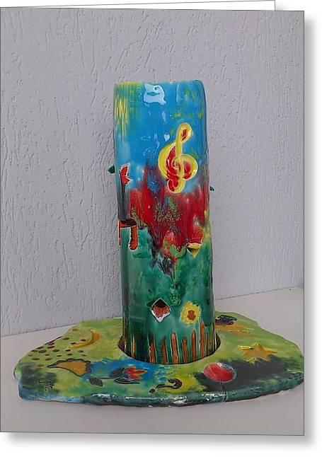 Glazed Ceramics Greeting Cards - Smoking Encens Greeting Card by Jacqueline De Maillard