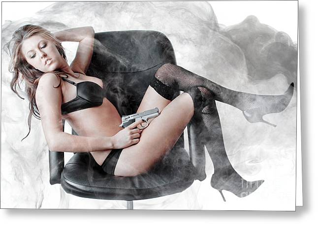 Curvy Beauty Greeting Cards - Smoking Gun Greeting Card by Jt PhotoDesign