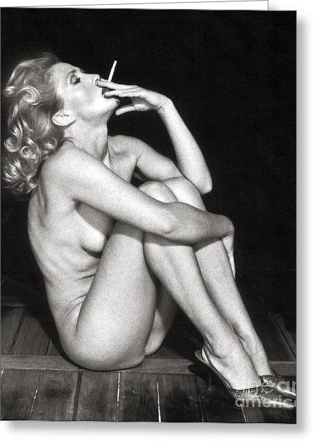 Smoke Photography Pyrography Greeting Cards - Smoking Nude  Greeting Card by Silva Wischeropp