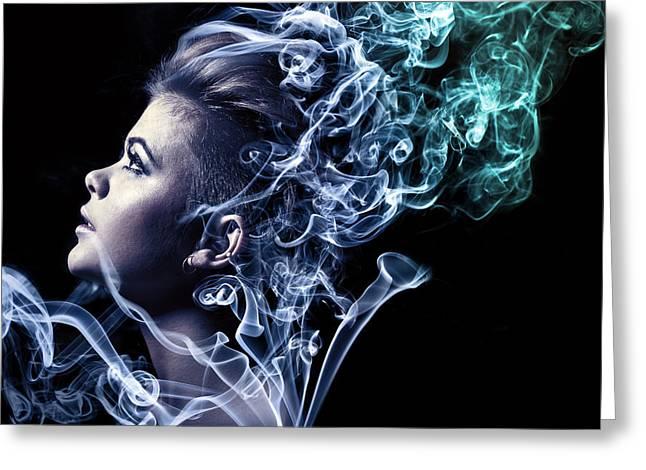 Female Model Greeting Cards - Smoking Greeting Card by Samuel Whitton