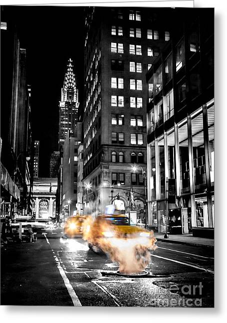 Empty Greeting Cards - Smoking Streets Of New York  Greeting Card by Az Jackson