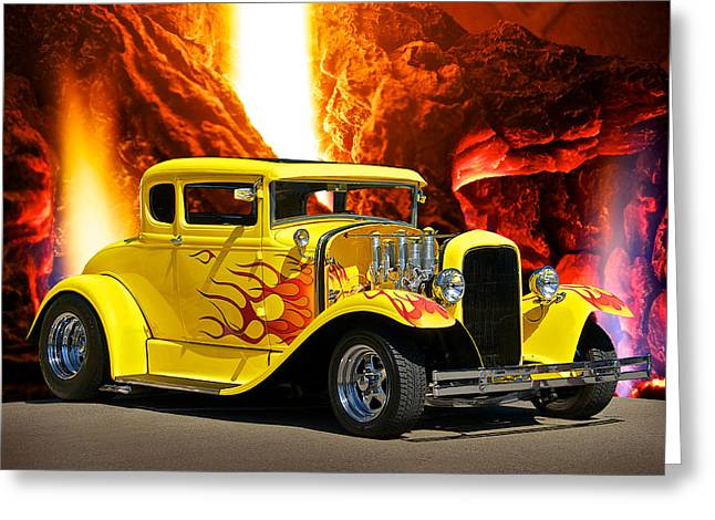 Model A Sedan Greeting Cards - Smokn HOT Coupe Greeting Card by Dave Koontz