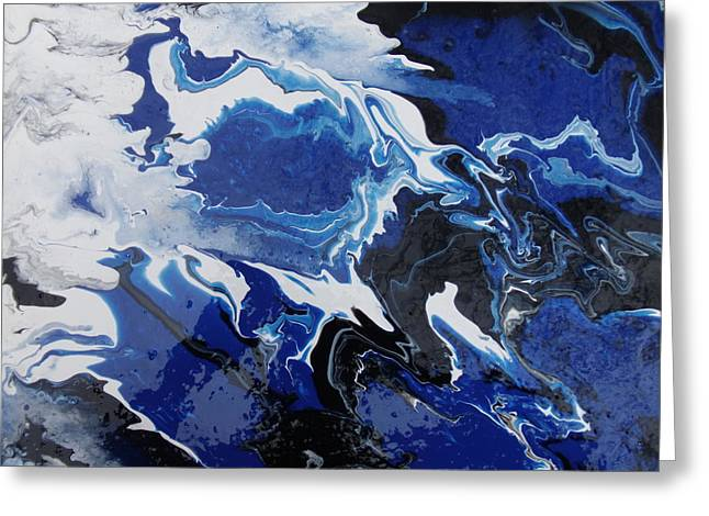 Acrylic Pour Greeting Cards - Smoky Blue Greeting Card by Mitchell Embry