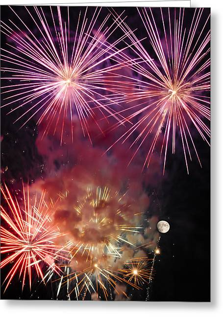 Pyrotechnics Greeting Cards - Smoky - Fireworks and Moon Greeting Card by Penny Lisowski