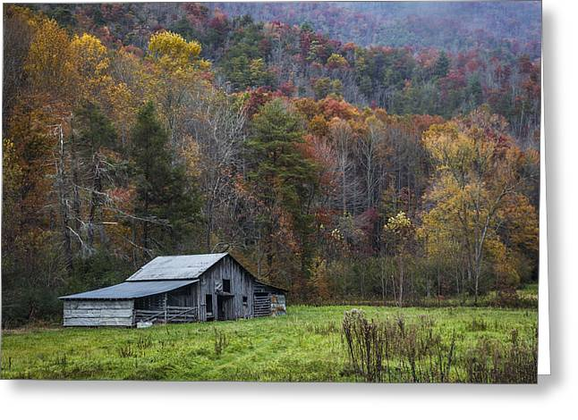 Red Roofed Barn Greeting Cards - Smoky Mountain Barn Greeting Card by Debra and Dave Vanderlaan