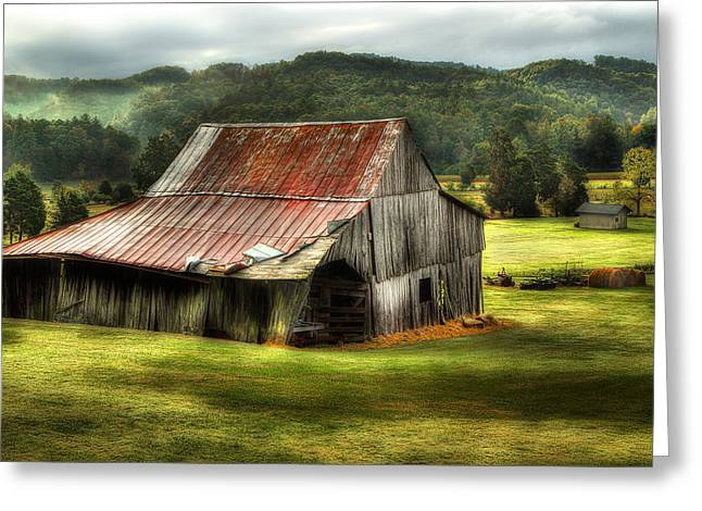Smoky Greeting Cards - Smoky Mountain Barn In The Valley Greeting Card by Michael Eingle
