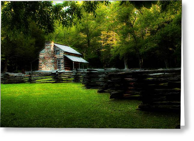 Mountain Cabin Greeting Cards - Smoky Mountain Cabin in May Greeting Card by Michael Eingle