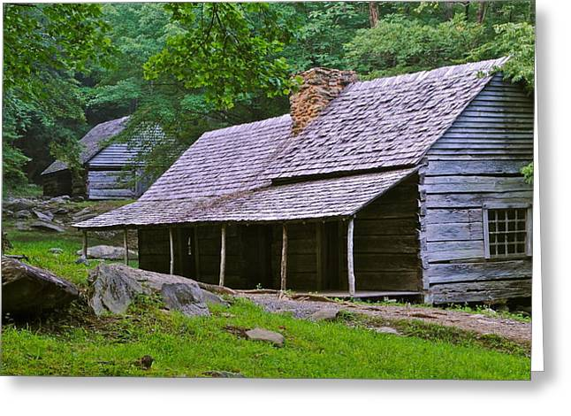 Mountain Cabin Greeting Cards - Smoky Mountain Cabins Greeting Card by Frozen in Time Fine Art Photography