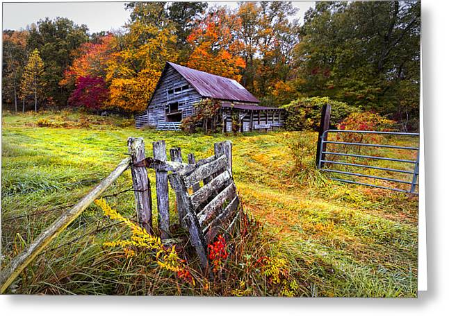 Red Roofed Barn Greeting Cards - Smoky Mountain Farm Gate Greeting Card by Debra and Dave Vanderlaan