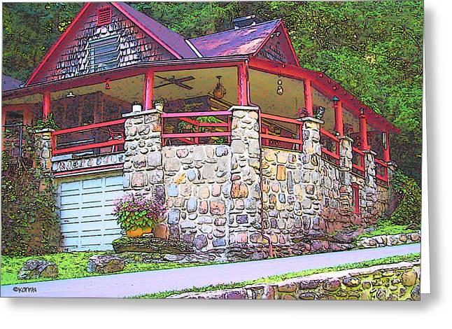 Log Cabin Art Digital Art Greeting Cards - Old Log Cabin - Smoky Mountain Home Greeting Card by Rebecca Korpita