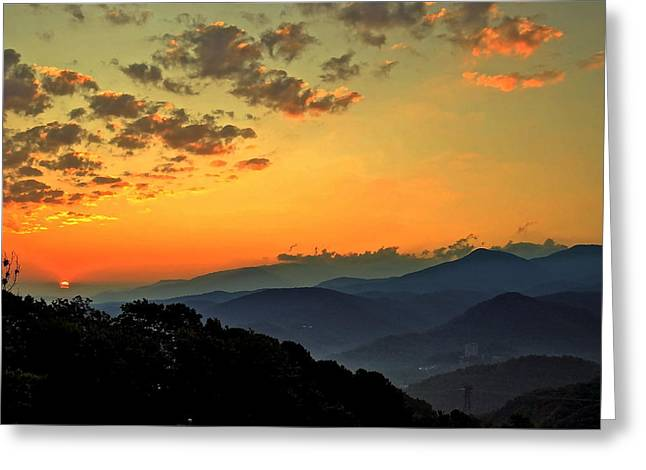 Sureal Greeting Cards - Smoky Mountain Sunrise Greeting Card by Frozen in Time Fine Art Photography