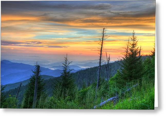 Gatlinburg Tennessee Greeting Cards - Smoky Mountain Sunset Greeting Card by Mark Bowmer