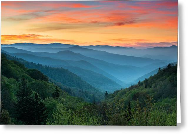 Blue Art Greeting Cards - Smoky Mountains Sunrise - Great Smoky Mountains National Park Greeting Card by Dave Allen