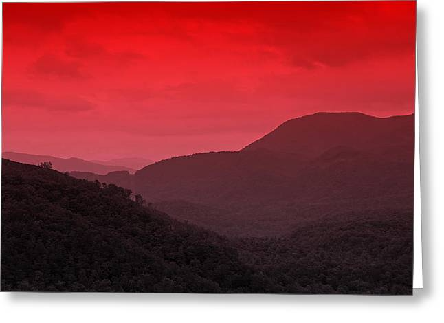 Smoky Mountians Red Greeting Card by Stephen Stookey