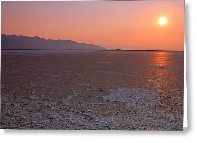 Dry Lake Greeting Cards - Smoky sunset in the Salt Flats Greeting Card by Johnny Adolphson