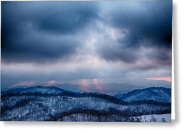 Western North Carolina Greeting Cards - Smoky Sunset Greeting Card by John Haldane