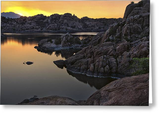 Smoky Sunset on Watson Lake Greeting Card by Dave Dilli