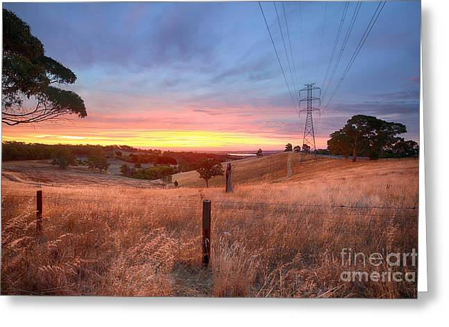 Farmers Field Greeting Cards - Smoky Sunset Greeting Card by Ray Warren