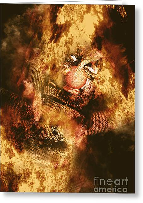 Scary Clown Greeting Cards - Smoky the voodoo clown doll  Greeting Card by Ryan Jorgensen