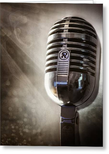 Live Art Photographs Greeting Cards - Smoky Vintage Microphone Greeting Card by Scott Norris