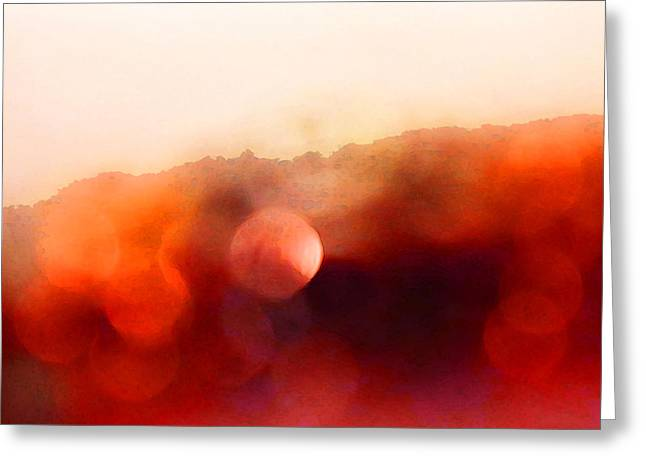 Light Framed Prints Greeting Cards - Smoldering - Red Abstract Modern Contemporary Art By Sharon Cummings Greeting Card by Sharon Cummings