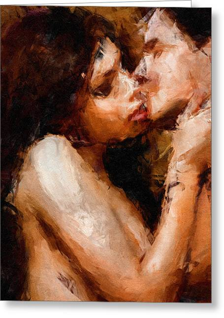 Romantic Greeting Cards - Smooch - Abstract Realism Greeting Card by Georgiana Romanovna