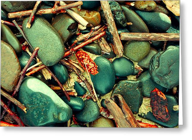 Beach Stones. Colorful Rocks Greeting Cards - Smooth Beach Rocks Greeting Card by Bonnie Bruno