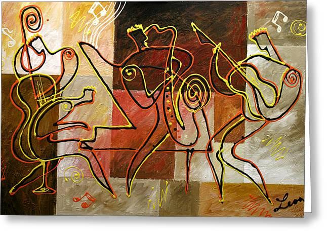 Avant Garde Jazz Greeting Cards - Smooth Jazz Greeting Card by Leon Zernitsky