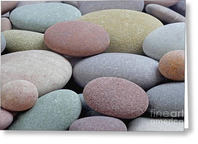 Smoothness Greeting Cards - Smooth round pebbles in soft colours Greeting Card by Rosemary Calvert