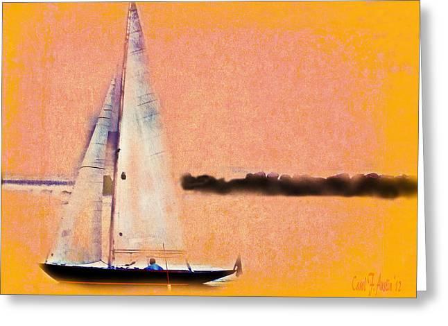 Yellow Sailboats Digital Art Greeting Cards - Smooth Sailing into the Sunset Greeting Card by Carol F Austin