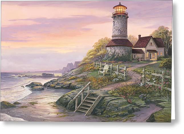 Coastal Lighthouses Greeting Cards - Smooth Sailing Greeting Card by Michael Humphries