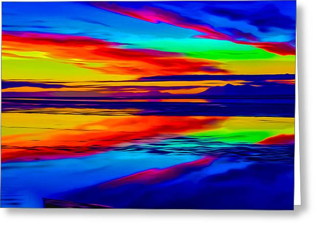 Ocean Art Photos Greeting Cards - Smooth Sunset Reflection Greeting Card by Ron Fleishman